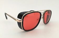 Vtg Red Lens Steampunk Sunglasses Aviator Eyewear Side Cover