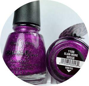 China Glaze Nail Polish Glam-more 1100 Crackle Glitter Shimmer Magenta Lacquer