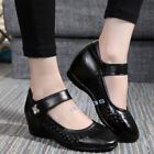 Casual Womens Black White Leather Wedge Oxfords Comfort Nurse Work Nursing Shoes