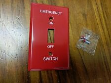 1 pc Red Metal EMERGENCY On Off Wall Plate Cover 1-Gang Toggle Switch