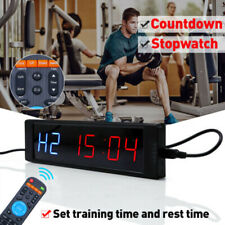 Home Gym Sport Fitness Crossfit Interval Timer Stopwatch Wall Clock W/ Remote