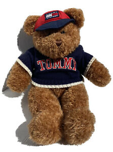 """Tommy Hilfiger Brown Stuffed Plush Teddy Bear 16"""" Red Hat Blue Sweater Spell Out"""