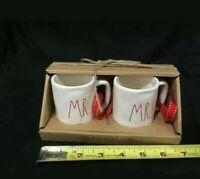 Rae Dunn Mini Mug  Ornament Set Mr. & Mrs. Farmhouse LL Red writing /ribbon