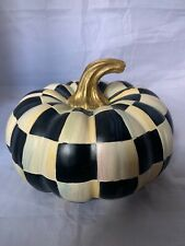 """Mackenzie Childs Courtly Check Large Squashed Pumpkin 9"""" Diameter 7"""" Tall Black"""