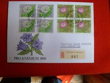 1991 SWITZERLAND FLOWERS PRO JUVENTUTE REGISTERED FIRST DAY COVER 2 BLOCKS 4