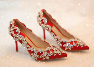 Women's Shoes Fashion Rhinestones Pointed Toe High Slim Heels Red Wedding Shoes
