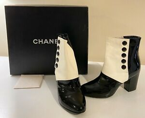Chanel Black & White Patent Ankle Boots with Chanel on Heels Sz 36.5