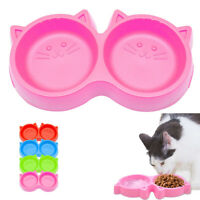 Cat Food Bowl Set Plastic Bowls for Cats Pet Kitten Double Water Feeder Dishes