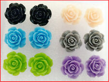 12PCS X Rose Flower Stud Earring Mixed Color Flower Wholesale Lot Nickel Free