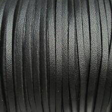 Lot de 3m FIL SUÉDINE 3x1mm cordon daim velvet textile NOIR façon CUIR *C27A