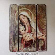 Madonna Mary and Child Jesus Wood Wall Plaque 15in Distressed Old Fashioned Look