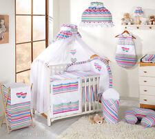 Baby Bettwäsche Bettset mit Herzchen C 8tlg für Kinderbett 70x140 Moskitonetz
