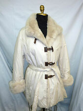 New White Fabric jacket with detachable Rex Rabbit Collar+Facing+Cuffs #62192