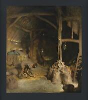 ANTIQUE BARN FARM GRAIN HAY LADDER GEORGE CLAUSEN COLOR LITHOGRAPH OLD ART PRINT