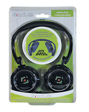 Leather Black Deep Bass Folding 3.5mm Stereo Headphones with Adjustable Headband