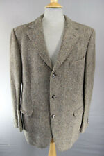 VINTAGE 1970's CLASSIC HANDWOVEN PURE WOOL LIGHT BROWN HARRIS TWEED JACKET 42 IN