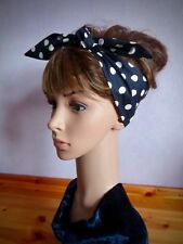 Black and white polka dot hair scarf spotted headband black spotted bandana/wrap