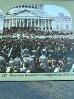 Antique Stereoview Card TINTED Photo PRESIDENT ROOSEVELT'S INAUGURATION ADDRESS