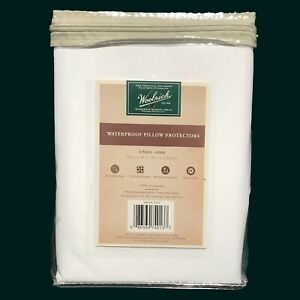 2-PK New Woolrich Waterproof Pillow Protectors White King Size White 20 x 36 in