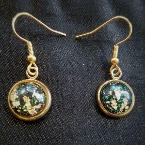 Black & Gold Leaf Cabochon Drop Dangle Gold Pierced Earrings, Celestial, Boho