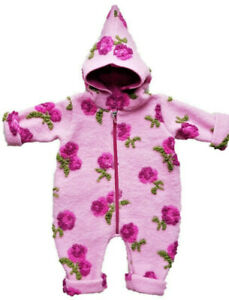 Baby-Overall Wollwalk Wollanzug Rosa mit Kapuze-Trocadero warm handgemacht