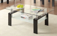 Contemporary Tempered Glass Tempered Glass Coffee Table With Shelf Black