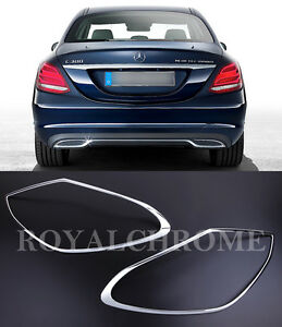USA STOCK X2 PREMIUM CHROME Rear Light Trims for Mercedes C Class W205 4DR Sedan