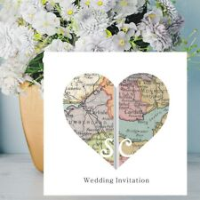 Heart Vintage Map Personalised Wedding Invitations - FREE Framed Keepsake Print