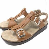 SAS Womens Captiva T Strap Sandal size 7 Narrow Caramel Tripad Comfort
