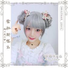 Cute Japanese Style Girls Lolita Harajuku Smoky Gray Wig With Two Bun Cosplay