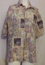 Cooke Street Honolulu 100% Cotton Hawaiian Shirt with Huts & Flowers Size XL