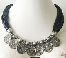 """VINTAGE 1980's BLACK BEADED Silver-Tone METAL """"Ancient"""" COINS NECKLACE India VG"""