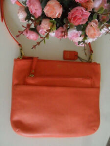 Fossil Tessa Coral Pink Leather Top Zip Crossbody Messenger Shoulder Bag