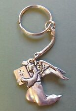 Angel Pewter Keyring, Archangel Uriel, hand crafted, Angel motif 4.5 x  4 cm