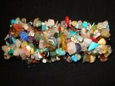 "MIXED CHAKRA CRYSTAL HEALING GEMSTONE WIDE WOVEN 7"" CHIP STRETCH BRACELET"