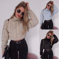 PT_ LK _ HK- donna corto stile inverno a Collo Alto Maglione Tinta Unita Moda