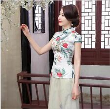 new white Chinese Women's silk/satin short sleevesTop T-shirt blouse  6-14