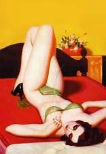 """Vintage PINUP GIRL *FRAMED* CANVAS ART 18x12"""" - Stolen Sweets"""