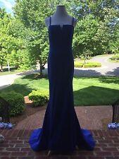 JVN By JOVANI JVN31147 Royal Blue V-Neck Formal Gown Sweep Train Sz 12 $398 NWT