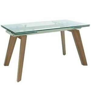 Glass top and walnut extending dining table Dwell