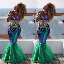 Women Girl Mermaid Halloween Cosplay Costume Fancy Party Dresses Tail Maxi Skirt