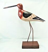 Shore Bird Hand carved and painted wood on stand Beach decor (C)