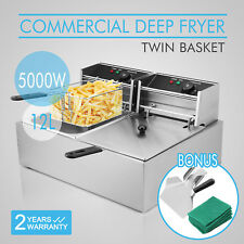12L Commercial Deep Fat Fryer Electric Tabletop Snack Bars 5000W Frying Chip