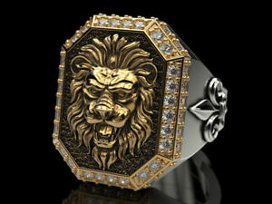 Unique Mens Rings Large Lion Head All-Seeing Eye Ring Lily Symbol In 925 Silver