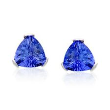 NATALIA DRAKE  Sterling Silver GenuineTrillion Tanzanite Stud Earrings - 1 cttw