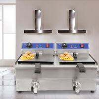 Stainless Steel 2x19L Double Tank Commercial Kitchen Deep Fat Fryer Restaurant