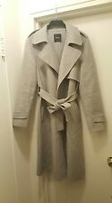 NEW $795 Theory women wool cashmere 'oaklane' grey belted coat size M