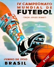 VINTAGE 1950 WORLD CUP SOCCER BRAZIL FUTEBOL POSTER ART PRINT ON REAL CANVAS