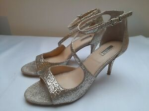 CARVELA shoes size 6 warm gold glitter ankle strap peeptoe Gamma occasion