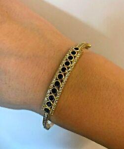 Sapphire Bracelet Bangle Cuff 925 Sterling Silver Handmade
